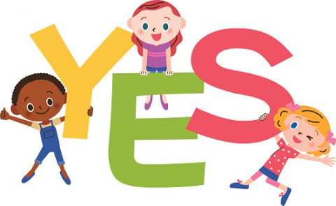 YES letter and children